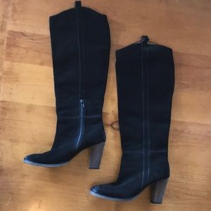 Knee high black suede boots